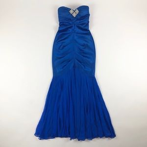 Cache Royal Blue Ruch Strapless Mermaid Gown